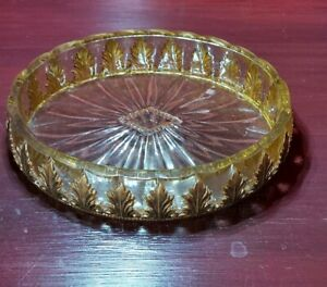 Vintage Mid Century Lucite Acrylic Clear Soap Trinket Dish Gold Ornate Inlay