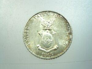 Philippines US 10 Centavos 1945 D Silver America Sharp 26# Coin Money