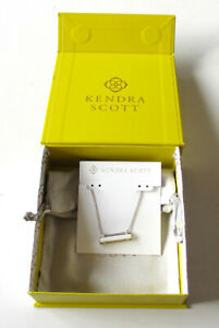 NEW Kendra Scott Leanor Silver Necklace In White Mother of Pearl Bar Pendent $70