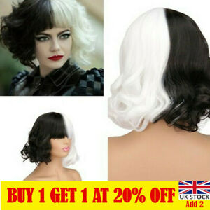 Women Black White Short Curly Wig Synthetic Wavy Hair Wig Halloween Cosplay