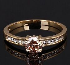 Woman's 5mm Round Cut 18K Yellow Gold Filled Silver Wedding Ring 7 Colors U Pick