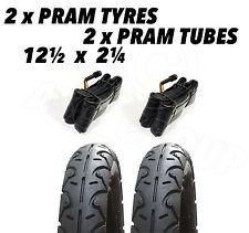 "2 x Pram Tyres & 2 x Tubes 12 1/2 X 2 1/4"" Slick Peg Perego Culla GT3 Baby Vivo"