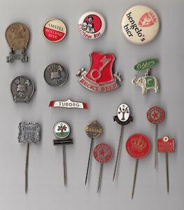 Vintage BEER BIER stick pin badges 1960s Logo Brewery Heineken Amstel Carlsberg