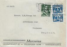 NETHERLANDS 1945 TYPED COVER WITH 3 STAMPS TO ENGLAND  MY REF 709