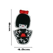 Patch Japanese Geisha Girl Iron on Sew Embroidered Badge Japan Applique Cute 394