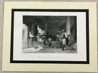 1874 Antique Engraving Arab Cafe in Constantine Edmond Hedouin Painting Print