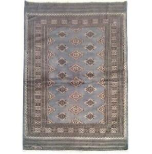 4x6 Hand Knotted Wool & Silk Jaldar Bokhara grey Rug B-75640