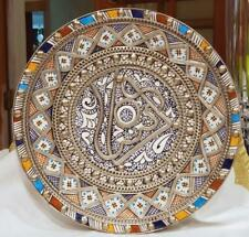 ANTIQUE MOROCCAN FEZ POTTERY SILVER FILAGREE PLATE HANDPAINTED   FREE SHIPPING