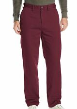 $65 Nautica Men's Classic Fit Twill Pants Shipwreck Burgundy 34x30