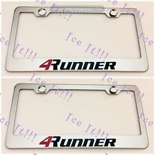 2X 4Runner 4 Runner Toyota Stainless Steel License Plate Frame W/ Caps