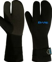 Bare Gloves 7mm K-Palm Three-Finger Mitt, Black WETSUIT OR DRYSUIT 2XS
