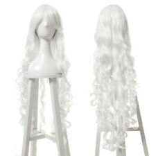 100cm Long White Curly Wave Womens Synthetic Hair Cosplay Wig Bangs Lolita Wigs