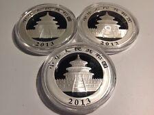 (3) 2013 China 10 Yuan 1oz .999 Fine Silver Panda BU, in Capsule. BenLD1z