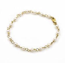 Castellano Jewels Pulsera Mujer Oro 18K Con Perlas Naturales Akoya y Cadena