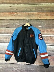 Official Marvel Employee Captain America Leather Jacket Jump label early 90s HTF