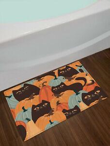"Halloween Funny Cartoon Black Cat Pumpkin Shower Curtain Set Bathroom Decor 72"""