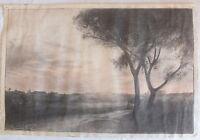 Dibujo Paisaje Carboncillo Paisaje Firmado Raymond Hourdebaigt 1917 ( N º 1)