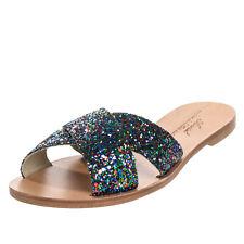 RRP €150 ANNIEL Slide Sandals EU 40 UK 7 US 10 Glitter Criss Cross Made in Italy