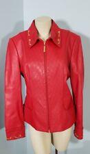 ST JOHN Sport Red 100% Lamb Leather Jacket sz M Motorcycle Coat Chain Moto