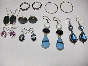 Lot of 8 Pair Silver Gemstone Earrings London Blue Mystic Topaz Labradorite Moss