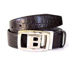 J-2149935 New Bally Dark Brown Silver Buckle Leather Belt Size 32 Fits Waist 30