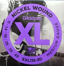 D'Addario EXL115 Electric Guitar Strings 3-Pack 11-49 - three sets