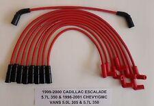 CADILLAC ESCALADE, GM VANS VORTEC 5.0L/305 5.7L/350 1996-01 RED Spark Plug Wires
