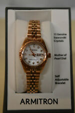 NEW Armitron Women's 75/2475MOP Swarovski Crystal Accented Rose Gold-Tone Watch