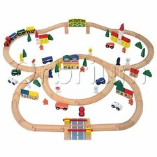 Wooden Train Set 100 Piece Orbrium Toys Triple Loop Fits Thomas Brio Chuggington