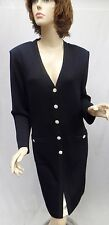 St John Knit  Black Dress  COAT Crystal buttons NWOT SIZE 14 16