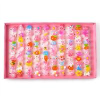 1 Box Cute Resin Cabochons Jewelry Plastic Kids Rings for Girls  41mm 100pcs/box