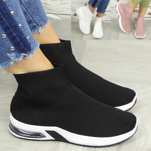 Ladies Sock Trainers Shoes Womens Chunky Sneakers Ankle Comfy Pump Pull On Boots