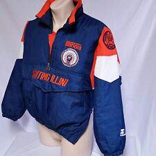 VTG Starter Jacket Illinois Fighting Illini Coat 90's Parka Illiniwek NCAA Large