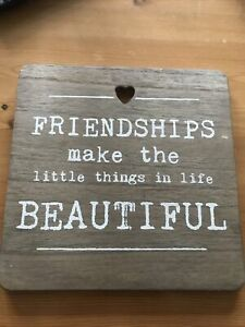 Wooden Sign Friendship Beautiful Shabby Chic Home Decor Christmas Gift