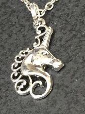 "Unicorn Portrait Small Charm Tibetan Silver 18"" Necklace BIN"