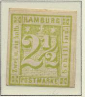 Hamburg (German State) Stamp Scott #12, Mint, Original Gum, Large Hinge Remnant