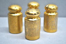 ANITQUE GOLD GILDED SALT AND PEPPER SHAKERS (SET OF 4)