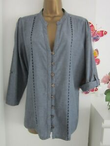 David Emanuel Denim Top Size 18    Embroidery / Tab Roll Up Sleeves