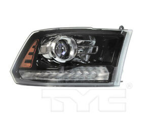 TYC Right Side Halogen Projector Headlight Assembly for Dodge Ram 13-14 Black