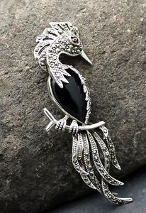 STERLING SILVER MARCASITE and ONYX BROOCH FREE FAST SHIPPING !!