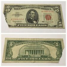 VINTAGE $5 1963 UNITED STATES NOTE FIVE DOLLARS DOLLAR BILL LINCOLN RED SEAL