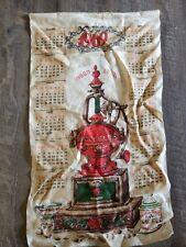 Vintage 1969 Linen Fabric Tea Towel Wall Calendar Good Luck Coffee Grinder