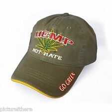 Weed Baseball Cap Hemp Not Hate Hat Marijuana MaryJane MJ Pot Gonja 420 Friendly