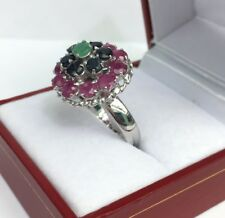 Solid .925 Silver Big Flower Cluster Ring, Mix Stones. Size 7. 6.68 Grams