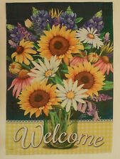 """Welcome"" Summer Sunflower, Coneflower, Daisy & Purple Flowers, Check House flag"
