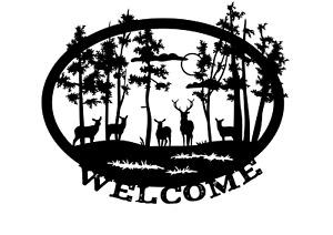 "Nature Scene Vinyl Design Wall Sticker Decal 9"" x 11"" Decor Deer Trees Welcome"