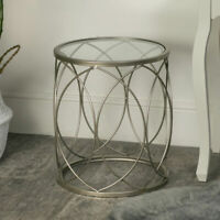 Silver metal swirl glass topped occasional side table living room home furniture