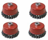 4 x 100mm Rotary Wire Knot Twist Industrial Cup Wheel Brush Angle Grinder M14