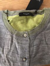 Paul Smith Womens Grey Knit Short Sleeve Cardigan Top Size Small