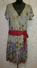 CRAZY FISH NWT Hand Painted Artwear Floral Print  Dress  Sz L #2239